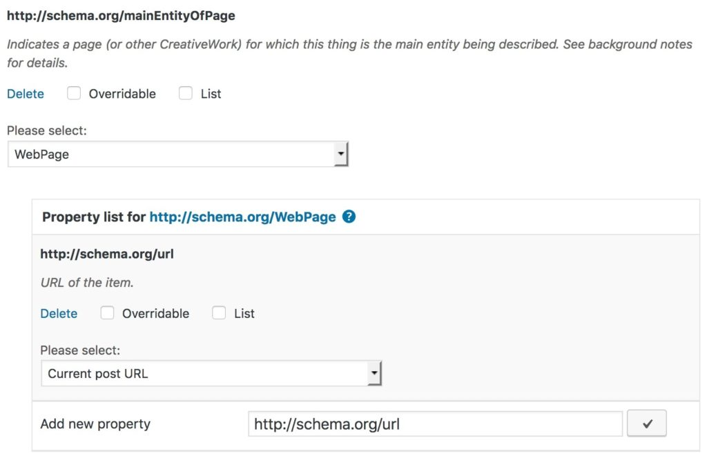 mainEntityOfType property in the Rich Snippets WordPress plugin