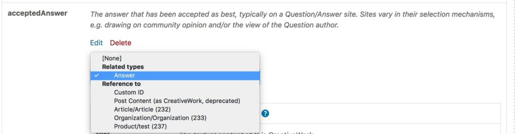 selectedAnswer dropdown shows the Answer schema class