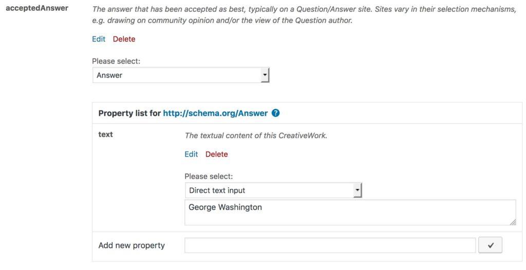 The full acceptedAnswer schema property