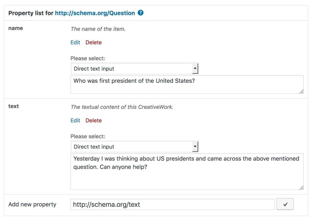 schema.org Question properties