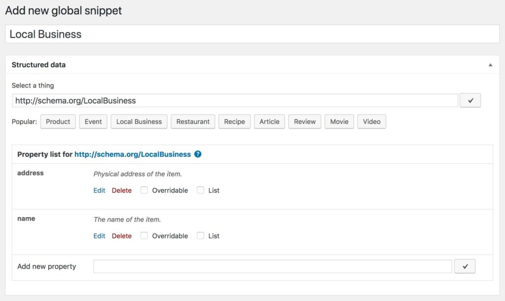 Global Snippet with LocalBusiness schema and minimal property list