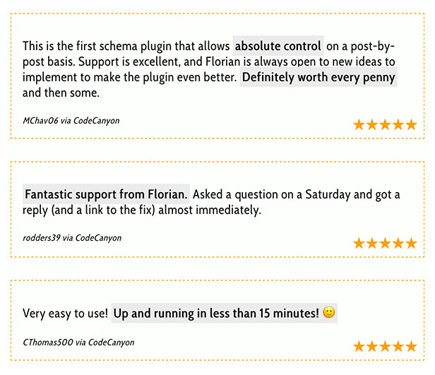 Customer testimonials of the rich snippet WordPress plugin snip customer ratings 1 - Rich Snippets WordPress Plugin