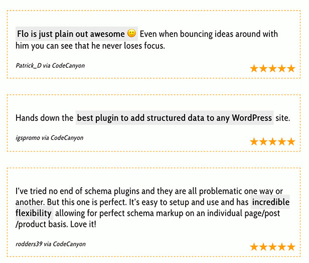 Testimonials of the Rich Snippets Plugin snip customer ratings 2 - Rich Snippets WordPress Plugin