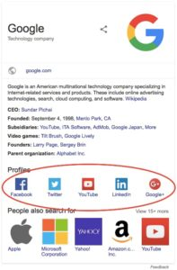 Social Profile links on Googles Knowledge Graph