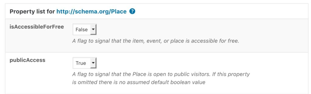 schema.org/Place with two properties: isAccessibleForFree and publicAccess