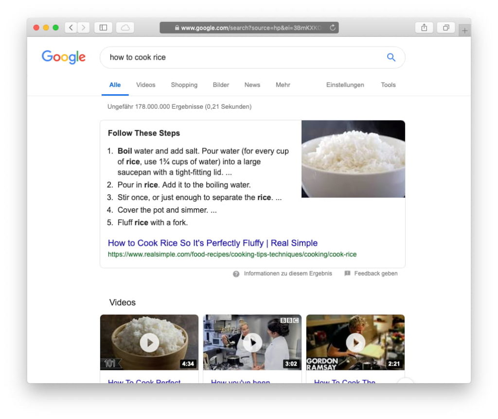 Search Result on Google shows a Rich Snippets as the very first result.