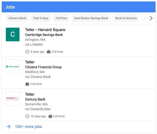 Google lists job postings in search results.
