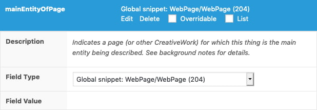 Schema property in the SNIP plugin show that it's referenced to another Global Snippet.