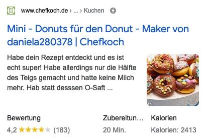 Suchtreffer von Chefkoch.de zeigt Bild und weitere Angaben wie Kalorien.