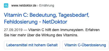 """Suchtreffer bei der Suche nach """"Vitamin C"""" enthält mehrere Links."""